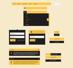 UI Flat Design Kit - Free PSD by Samir Timezguida, via Behance #flatdesign #freebies