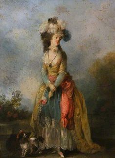A Lady Walking with a King Charles Spaniel - Jean-Frédéric Schall - 1775-1790