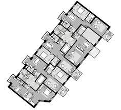 Cafe Floor Plan, Hotel Floor Plan, Floor Plan Layout, Floor Plans, Architecture Plan, Beautiful Architecture, Residential Architecture, Lofts, Co Housing