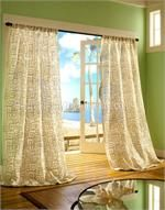 Crete Curtain Drapery Panels - semi-sheer in linen blend - rope applied in square pattern for modern or chic look for window treatments