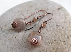 Sunstone Copper Earrings Sterling Silver Gold Rose by JustynaSart