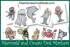 Free Mermaid and Ocean Dot Marker Printables
