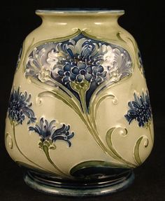 William Moorcroft made for Liberty & Co. Squat Vase in the Cornflower Pattern