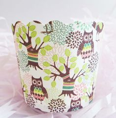 Owls in the Woods Baking Cups for Cupcakes & Muffins  This adorable owls paper baking cup is perfect for baking cupcakes and muffins for your little ones. International shipping from Canada available. Visit site for more details!