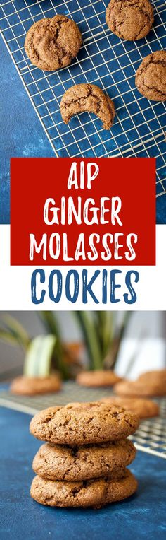Holiday baking that is allergy friendly! These Chewy Molasses Cookies are AIP approved - paleo, gluten free, grain free, dairy free, and vegan too! Paleo Dessert, Healthy Dessert Recipes, Paleo Sweets, Dairy Free Recipes, Paleo Recipes, Cookie Recipes, Paleo Ideas, Paleo Cookies, Gluten Free