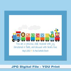 Boys personalized train with bible verse baptism gift colorful kids train personalized printable with a bible verse for a boy or girl great baptism birthday baby or last minute gift negle Gallery