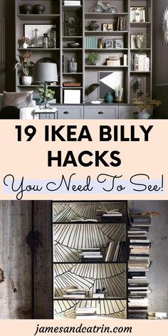 Ikea Billy hacks to turn a basic bookcase into something stunning! #ikeabillyhacks #ikeahack Ikea Billy Hack, Ikea Billy Bookcase Hack, Billy Bookcases, Bookcase Bar, Built In Bookcase, Bookshelves, Ikea Furniture Hacks, Cheap Furniture, Ikea Hacks