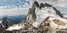 Howser Towers as seen from Pigeon Spire  Bugaboo Provincial Park, Purcell Mountains of BC Canada