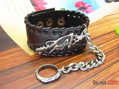 Adjustable Brown  Leather Bracelet  Ring Chain by sevenvsxiao, $13.50