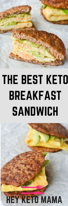 This keto breakfast sandwich is low in carbs, high in healthy fats and off the charts in flavor! The yummy sausage will make you forget the missing bread! Clean Eating, Healthy Eating, Morning Food, Atkins, Salmon Burgers, Ketogenic Recipes, Sandwiches, Low Carb, Meals
