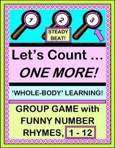 Practice SEQUENCING NUMBERS 1--12 using ONE-TO-ONE CORRESPONDENCE. Play an active Group Counting Game that uses 'whole-body' learning!  Sing a funny familiar-tune SONG with a rhyme for each number. 12 LOLLIPOP NUMBER TEMPLATES are provided. Just add . . . ONE MORE! (16 pages) From Joyful Noises Express TpT! $