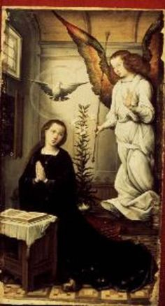Image: Juan  de Flandes - The Annunciation, from the main altarpiece