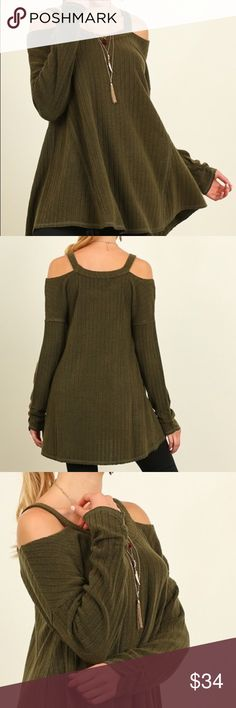 {Army Green Open Shoulder Tunic Sweater} Brand new purchased directly from boutique. Army green ribbed a-line top with shoulder cut outs. 3/4 sleeves. Material is a cotton blend. It is a thicker knit material rather than more lightweight. Size small, which fits sizes 2-4 comfortably. Material does provide stretch well and this top is labeled as a tunic length. Boutique Tops Tunics