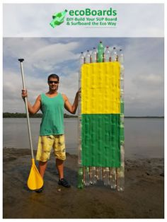 First Stand Stand up paddle board built with disposed plastic soda and Water PET Bottles in Joinville, Santa Catarina Brasil (Teo Seifer & Jairo Lumertz)