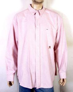 1e9393e6e vtg 90s euc Tommy Hilfiger Red & White Stripe Button Down Dress Shirt  oxford XXL
