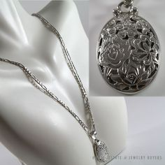 HAWAIIAN ASIAN FLORAL PENDANT 14K WHITE GOLD PENDANT & NECKLACE CHAIN #MingsHawaii