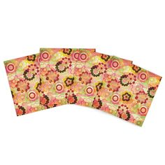 """Louise Machado """"Colorful Mix"""" Red Orange Indoor/Outdoor Place Mat (Set of 4)"""
