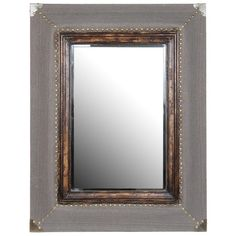 Wood wall mirror with nailhead trim.      Product: Mirror  Construction Material: Wood, fabric and mirrored glass...