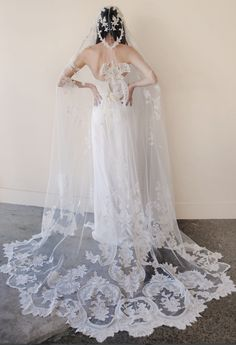 Cathedral Long 3M Ivory/White Lace Applique Edge Wedding Bridal Veil Free comb
