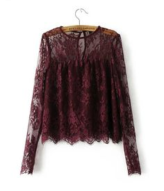 Shop Wine Red Keyhole Back Long Sleeve Lace Blouse online. SheIn offers Wine Red Keyhole Back Long Sleeve Lace Blouse & more to fit your fashionable needs. Cute Blouses, Shirt Blouses, Blouses For Women, Red Blouses, See Through Blouse, Black Lace Tops, Sheer Blouse, Purple Blouse, Purple Lace
