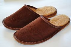 Men's Brown Suede Leather Slippers Wool
