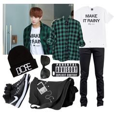 //BTS// Jungkook Inspired #2 by vocaloid523 on Polyvore featuring NIKE, UNIF, Chanel and Naked & Famous