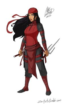 Fully Clothed Female Superheroes - Geek Art - Elektra