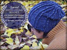 Bonnet facile en point élastique avec tricotin ciruclaire/rond - YouTube