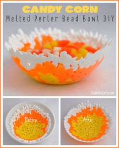 Candy Corn Inspired Melted Bead Bowl Tutorial – Fun Idea for Fall - Crafts for Teens Halloween Crafts For Kids, Crafts For Teens, Crafts To Do, Tween Craft, Kids Crafts, Halloween Ideas, Thanksgiving Crafts, Holiday Crafts, Holiday Fun