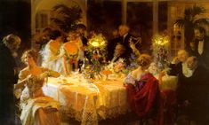 The Dinner Party Society Fashionable Rich People Painting By Jules Grun Repro Formal Dinner Setting, Tonya Leigh, Victorian Paintings, Most Famous Paintings, Popular Paintings, Religion And Politics, High Art, Rich People, Christmas Aesthetic