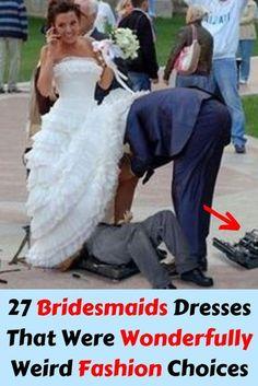 27 Bridesmaids Dresses That Were Wonderfully Weird Fashion Choices Tacky Wedding, Red Wedding, Next Dresses, Hot Pink Dresses, Bridesmaid Dresses, Wedding Dresses, Bridesmaids, Weird Fashion, Play