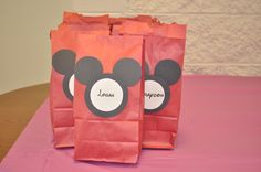 Mickey Mouse treat bags I made for party guests for my daughter's Disney-themed birthday party.