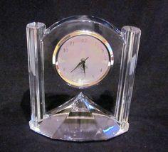 Crystal Lenox Quartz Clock Vintage Mantle by PowerOfOneDesigns