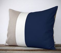 Color Block Pillow (16x20) Navy, Cream and Natural Linen - Coastal Home Decor - Nautical Striped Trio (more colors) on Etsy, $75.00