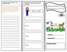 """This file contains 7 different trifolds for the novel """"Charlotte's Web"""". There is a trifold for every few chapters. The chapters that are covered are; Chapters chapters chapters chapters chapters chapters and chapters Use these trifolds as quizzes, ac. Reading Lessons, Reading Skills, Teaching Reading, School Fun, School Stuff, School Ideas, Charlottes Web Activities, Classroom Inspiration, Classroom Ideas"""