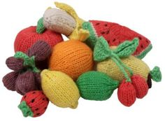 Knitted Fruit Play Food: Apple, Banana, Cherries, Grapes, Lemon, Lime, Orange, Pear, Strawberries or Watermelon: Palumba