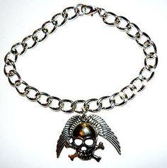 skulls work for men or women - chunky skull and angelwing bracelet