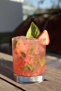 Strawberry Basil Caipirinha Recipe  Ingredients: 2 oz premium cachaça 2-3 strawberries half a lime 7-9 basil leaves (lime basil works great ...