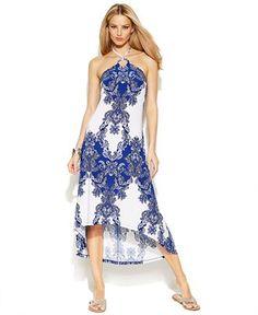INC International Concepts Embellished Printed Halter Dress - Dresses - Women - Macy's