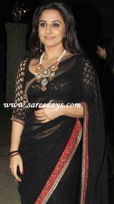 vidya balan in designer black saree