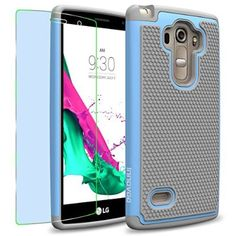 LG G Vista 2 Case, INNOVAA Smart Grid Defender Armor Case (IS Not Compatible with LG G4) W/ Free Screen Protector & Touch Screen Stylus Pen - Grey/Light Blue