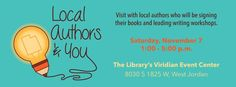 Meet Robin Glassey and other Utah Authors Nov. 7th 2015 at The Viridian Event Center.