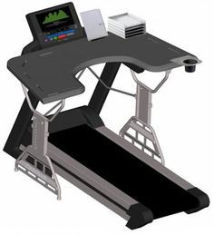 TrekDesk Treadmill Desk Too busy to work out on a daily basis? Turn to the TrekDesk treadmill desk, which encourages you to walk slowly on a treadmill while you Desk Workout, Workout At Work, Workout Rooms, Office Exercise Equipment, No Equipment Workout, Treadmill Desk, Buy Desk, Office Gadgets, Tech Gadgets