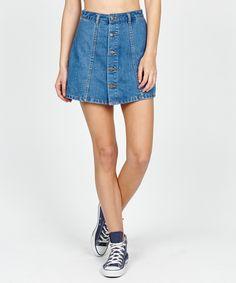 JOHNNY BUTTON THROUGH SKIRT INDIGO | Skirts | Clothing | Shop Womens | General Pants Online