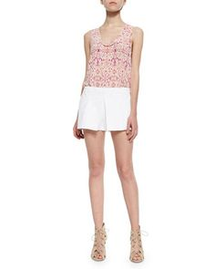 Alena Printed Silk Tank Top & Zorion Pleated Pique Skort by Joie at Neiman Marcus.