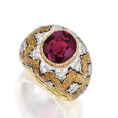 18 Karat Two-Color Gold, Garnet and Diamond Ring, Buccellati | lot | Sotheby's