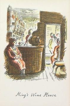 Edward Ardizzone - King's Wine House From The Local, a series of lithographs depicting London pubs. Edward Ardizzone, Wine House, Book Illustration, Editorial Design, Illustrators, Vintage World Maps, Weaving, Colours, King