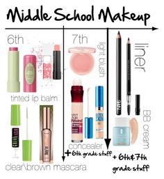 middle school makeup by tamakesmyday ❤ liked on Polyvore featuring beauty, Topshop, Pixi, Maybelline, Benefit, NARS Cosmetics, Paul  Joe, Christian Dior and Clinique