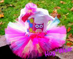 Custom Owl Birthday Tutu with age. Personalized. Pinks by HugWear, $14.95