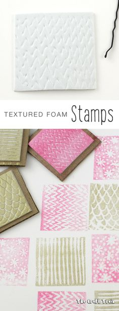 Create easy DIY textured foam stamps. THis is an easy art activity for kids or can be used to make fun handmade gift wrap and cards.